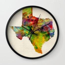 Texas Watercolor Map Wall Clock