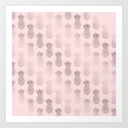 Girly rose gold & blush pink pineapple pattern Art Print