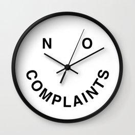 No Complaints Black + White Wall Clock