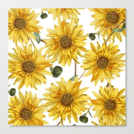 Sunflower pattern Canvas Print