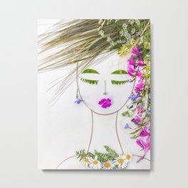 MILANJA - Floral rock lady botanical portrait from wild flowers Metal Print