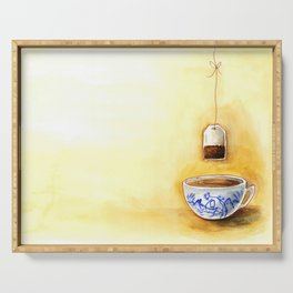 A cup of tea watercolor illustration Serving Tray