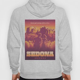 Sedona Grand Canyon Vintage Travel Poster Sunset Hues Silhouette Couple Lovers Hoody