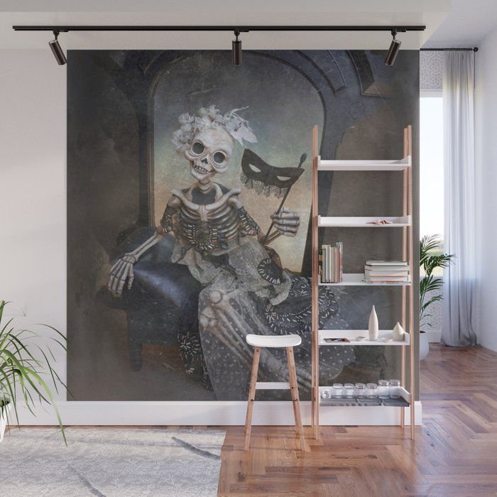 Catrina In Waiting Skeleton Large Format Wall Mural By Rucusstudio