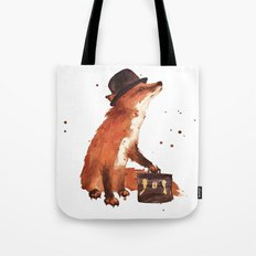 Fox in hat, office decor, gift for the boss, fox, fox painting, British fox Tote Bag