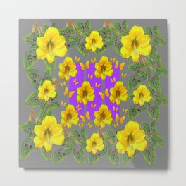 YELLOW AMARYLLIS FLOWERS BUTTERFLY FLORAL Metal Print