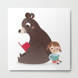 Reading with Bear Metal Print