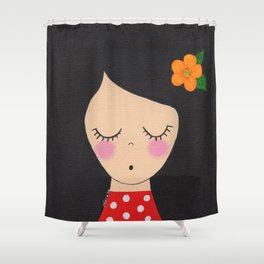 Little girl in polka dot dress Shower Curtain