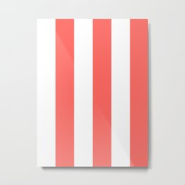Wide Vertical Stripes - White and Pastel Red Metal Print