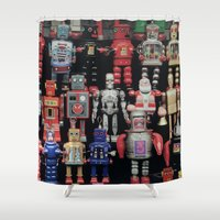 army Shower Curtains featuring Robot Army by derek banks
