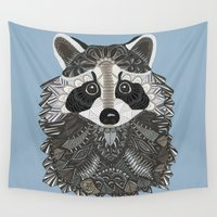 tangled Wall Tapestries featuring Tangled Raccoon by ArtLovePassion