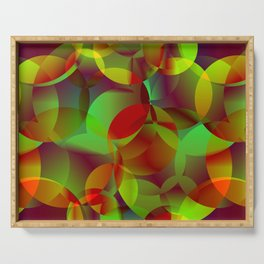 Vector abstract seamless background from space yellow and green bright circles and bubbles for fabri Serving Tray