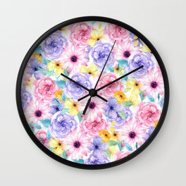 Trendy pink lavender yellow watercolor floral Wall Clock