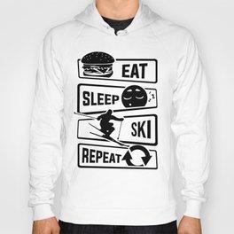 Eat Sleep Ski Repeat - Skiing Winter Holidays Snow Hoody