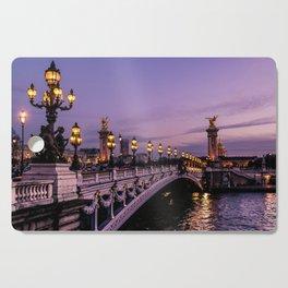Sunset over Paris Bridge (Color) Cutting Board