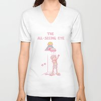 all seeing eye V-neck T-shirts featuring The All-Seeing Eye by Lili Batista