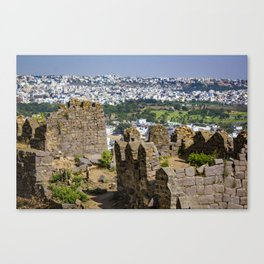 Remnants of an Ancient Stone Wall at Golconda Fort in Hyderabad, India Canvas Print