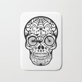 Vintage Mexican Skull with Bicycle - black and white Bath Mat