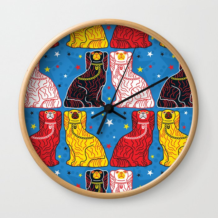staffordshire dogs Wall Clock