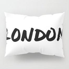 'London' Hand Letter Type Word Black & White Pillow Sham
