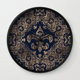 Luxury Fleur-de-lis Ornament - gold and dark blue Wall Clock