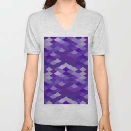 Ultra Violet wave, abstract simple background with japanese seigaiha circle pattern Unisex V-Neck