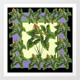 Green Tropical Botanical Foliage  Lilac-Black Art Art Print