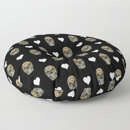 Say It with Skull and Hearts Floor Pillow