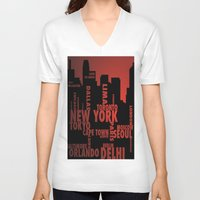 cities V-neck T-shirts featuring Cities by Colin Webber