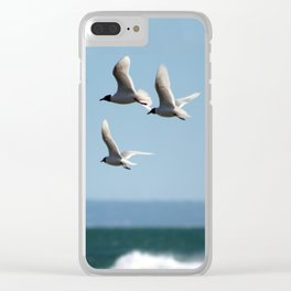 Seagulls flying over the sea Clear iPhone Case