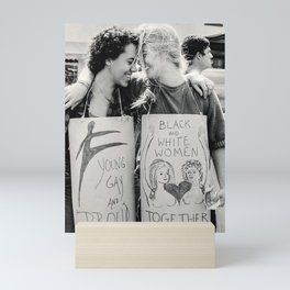 Interracial Lesbian Couple Protest For Equality Mini Art Print