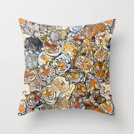 Big Cat Collage Throw Pillow