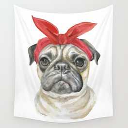 Pug with a Red Bandana Watercolor Wall Tapestry