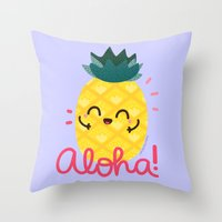 pinapple Throw Pillows featuring Aloha by Kleviee