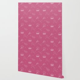 Fast Food Snacks Attack - Pizza Pie Hot Dogs Chicken Wings! on Pink Wallpaper