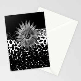 Animal Print Cheetah Black and White Pattern and Silver Medallion Stationery Cards