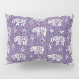 Elephants on Linen - Amethyst Pillow Sham