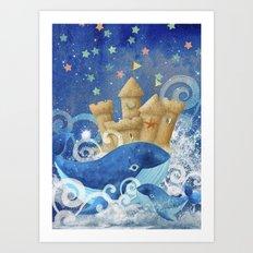 Sandcastle Waves Whales Art Print