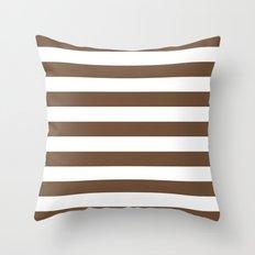 Horizontal Stripes (Coffee/White) Throw Pillow