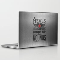 health Laptop & iPad Skins featuring He health the brokenhearted by biblebox
