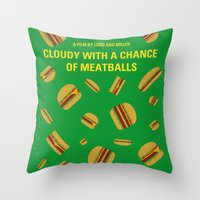 No778 My Cloudy with a Chance of Meatballs minimal movie poster Throw Pillow