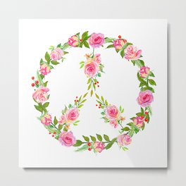Pink Rose Peace Wreath Metal Print