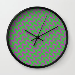 Pattern of bright green squares and pink rhombuses with diagonal volumetric triangles. Wall Clock