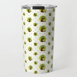 """Green Lemon Pattern Succulents Polka Dots"" Travel Mug"