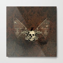 Awesome crepy skull with crow Metal Print
