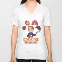 cooking V-neck T-shirts featuring Cooking Hannibal by Sabrina Cotugno