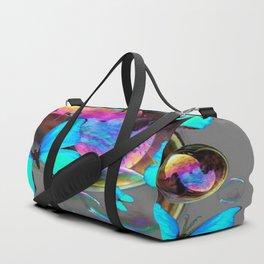 MODERN ART NEON BLUE BUTTERFLIES PATTERNS ART Duffle Bag