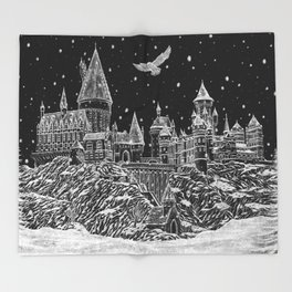 Holiday at Hogwart Throw Blanket