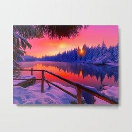 art drawings Fox forest, flower wall art, printable art, Fox art forest, Large Wall Art Prints Metal Print