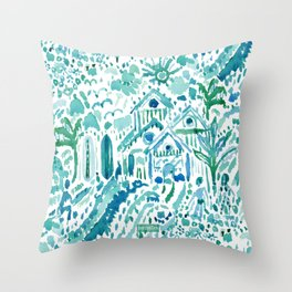 IDEAL BEACH HOUSE Aqua Watercolor Print Throw Pillow